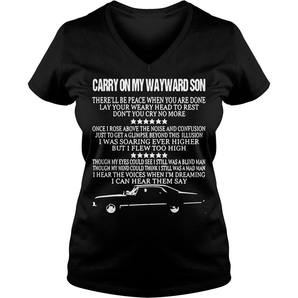 Carry On My Wayward Son V-neck t-shirt