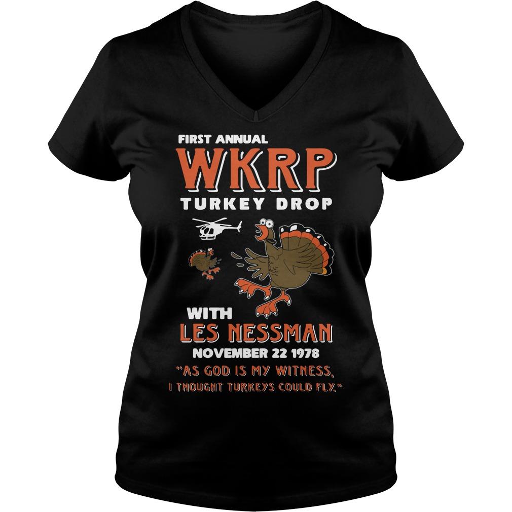 First Annual Wkrp Turkey Drop V-neck T-shirt
