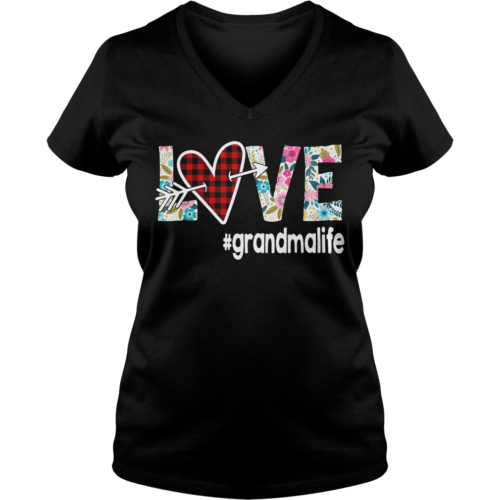 Love Grandmalife Flower V-neck T-shirt