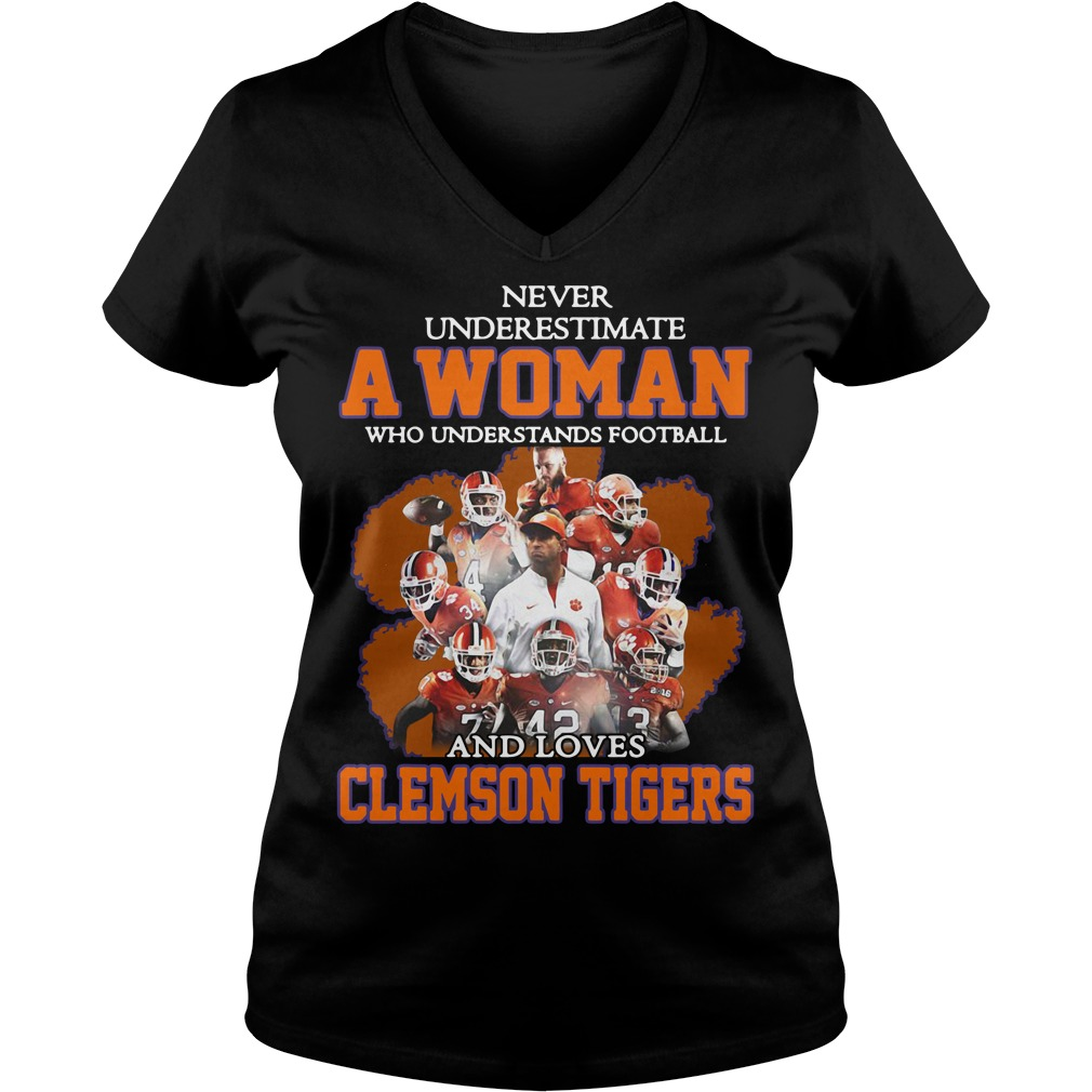 Never Underestimate Woman Understands Football Loves Clemson Tigers V-neck T-shirt
