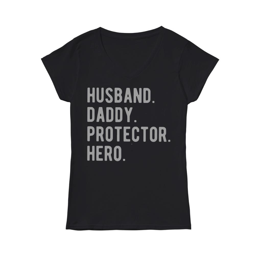 Husband Daddy Protector Hero V-neck T-shirt