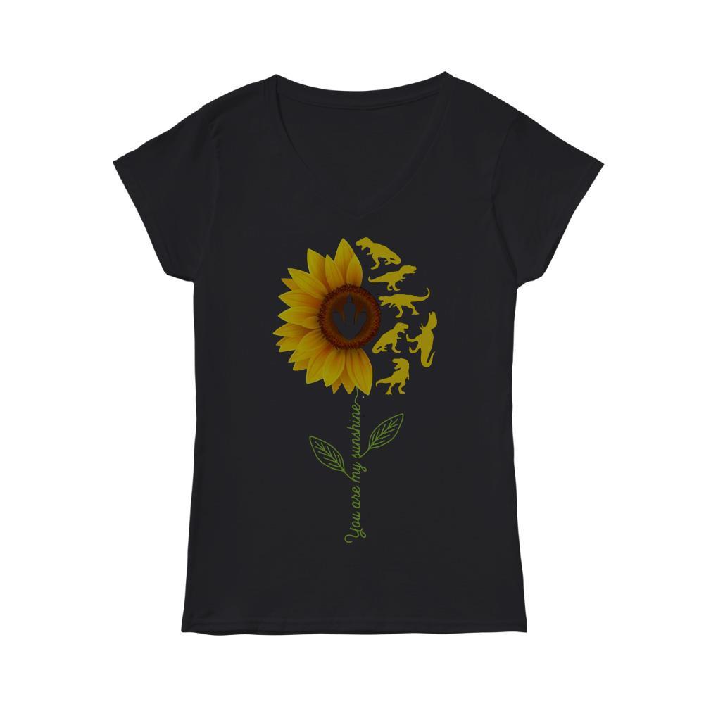 Sunflower T Rex You Are My Sunshine V-neck T-shirt