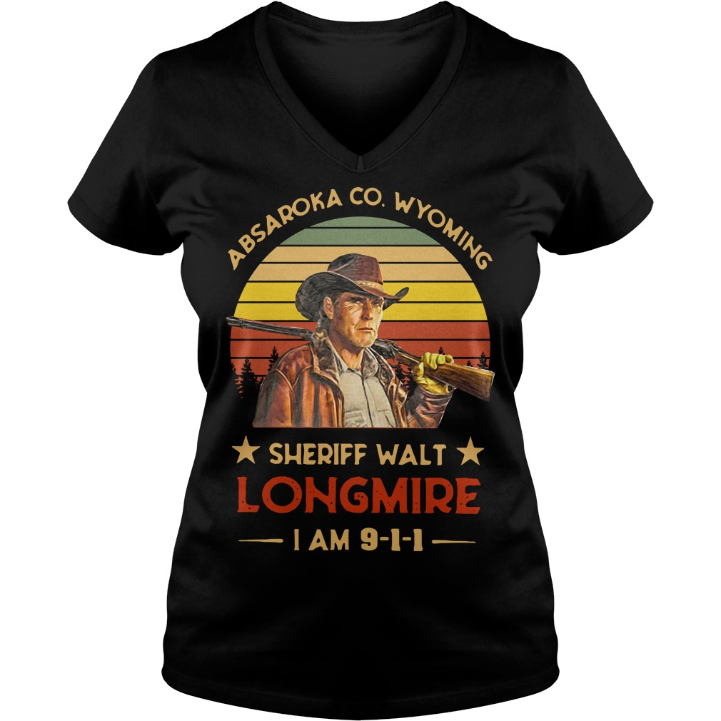 Absaroka County Wyoming Sheriff Walt Longmire I Am 911 V-neck T-shirt