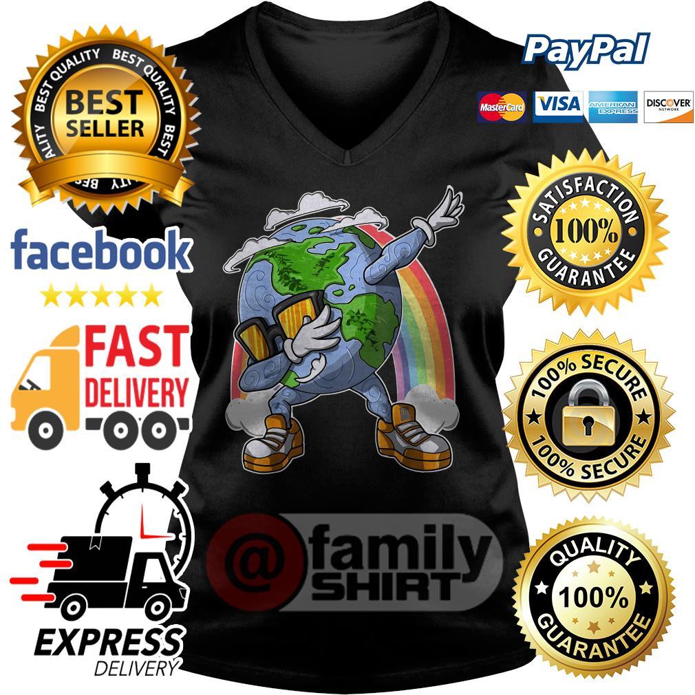 Earth Day Dabbing Rainbow V-neck T-shirt