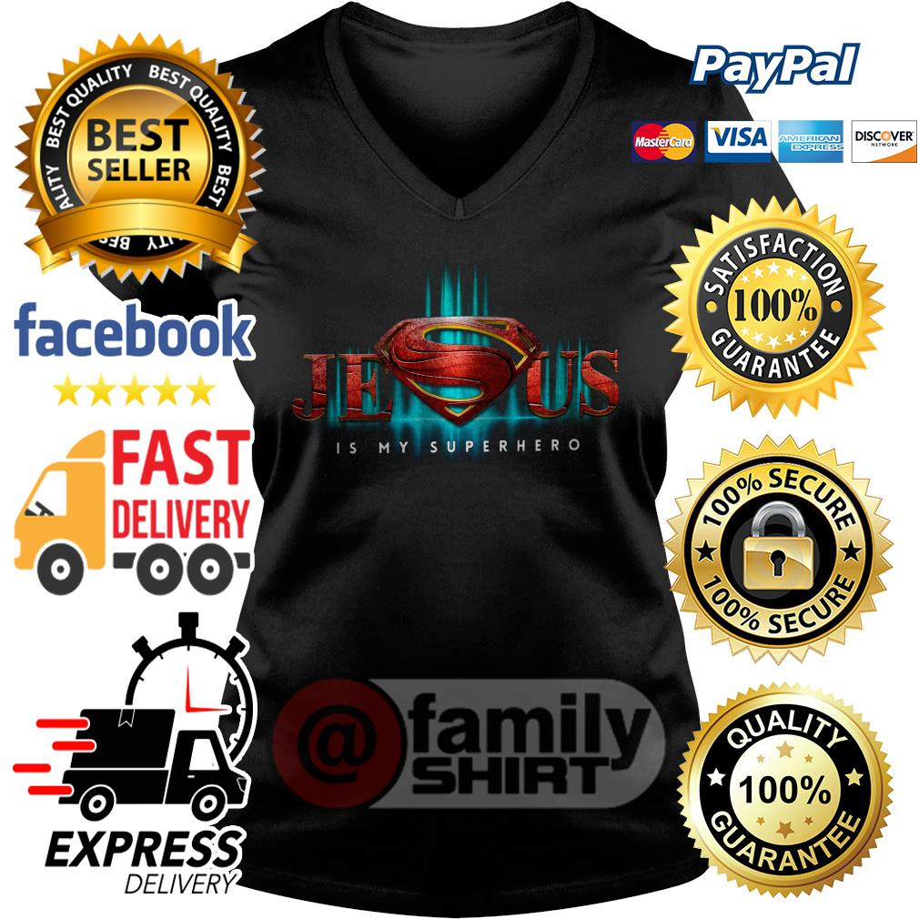 Jesus Is My Superhero V-neck T-shirt