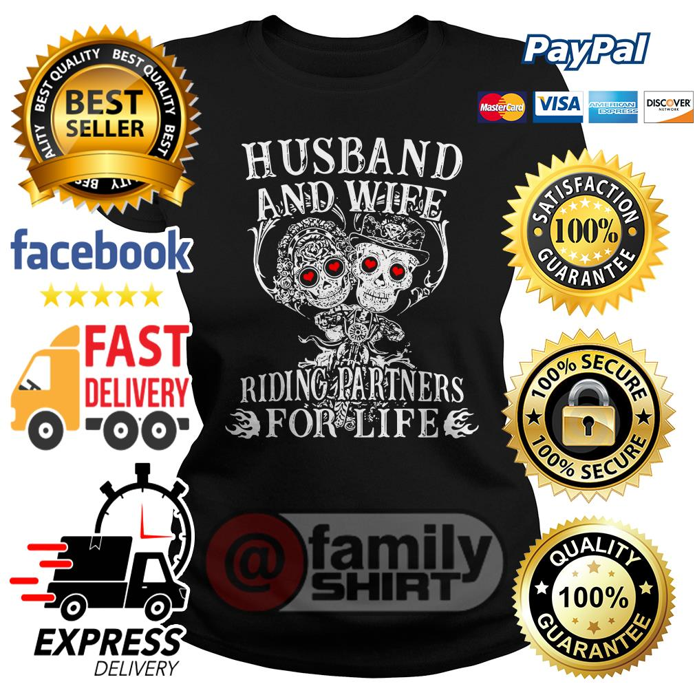 Skull Husband And Wife Riding Partners For Life Ladies Tee