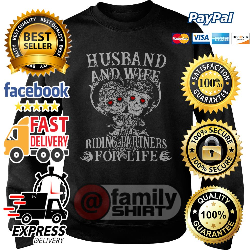 Skull Husband And Wife Riding Partners For Life Sweater