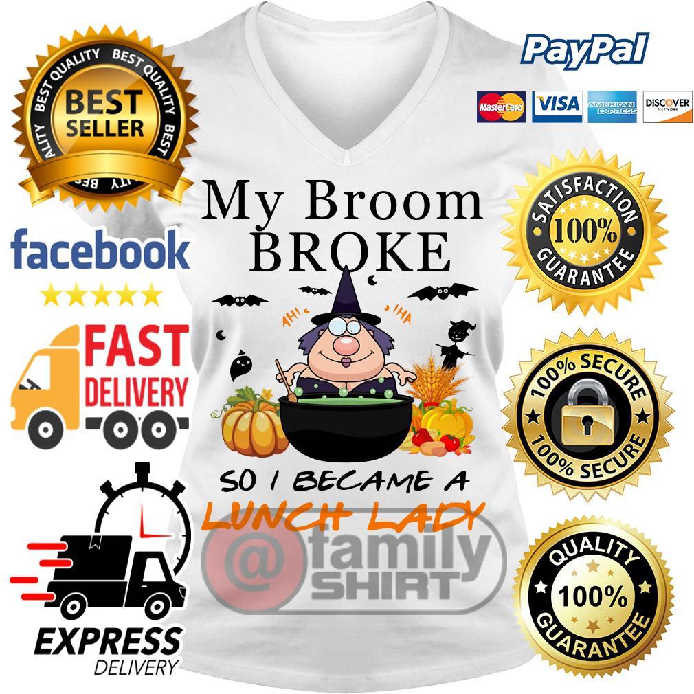 Brom Broke Became Lunch Lady V-Neck T-Shirt