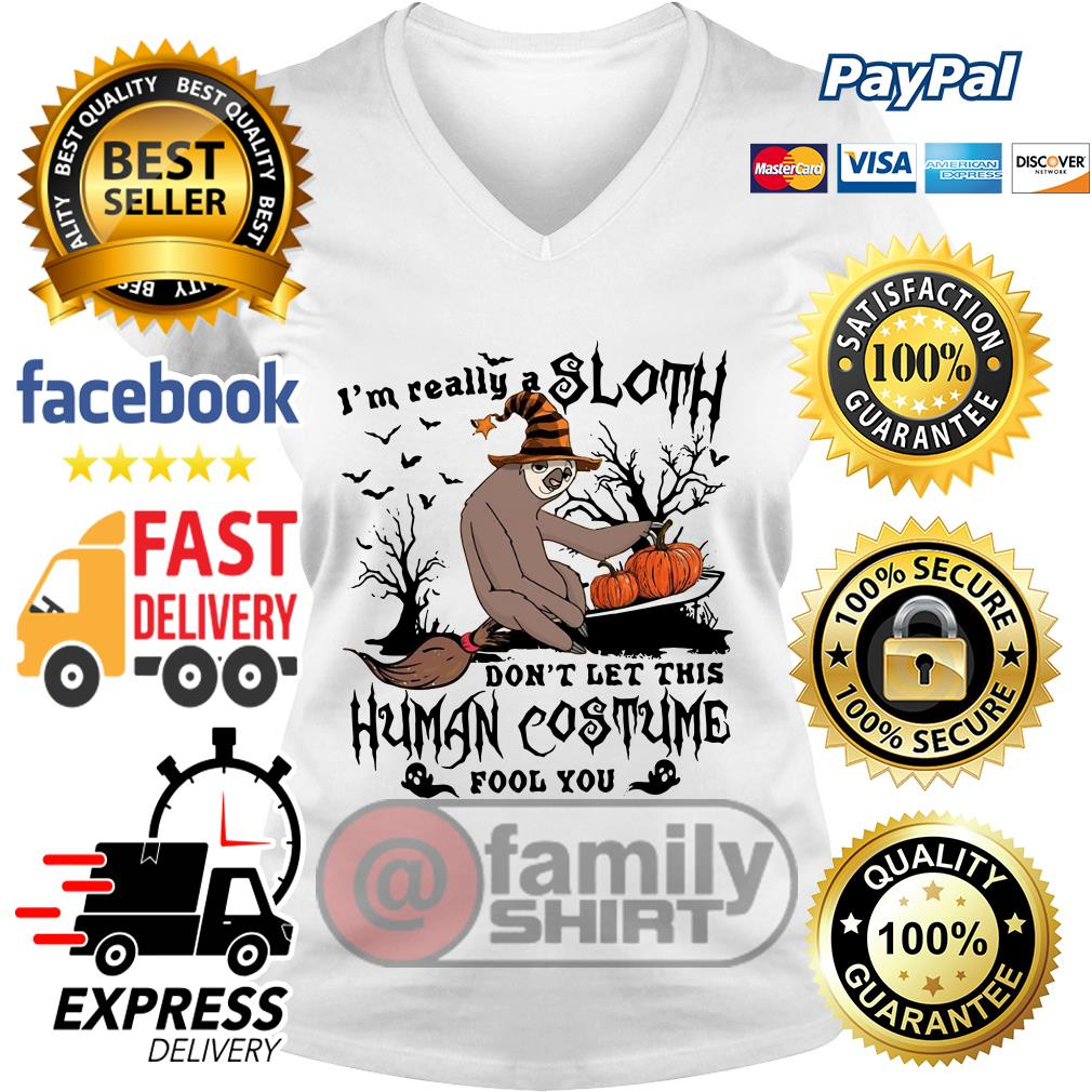 I'm Really A Sloth Don't Let This Human Costume Fool You V-neck T-shirt