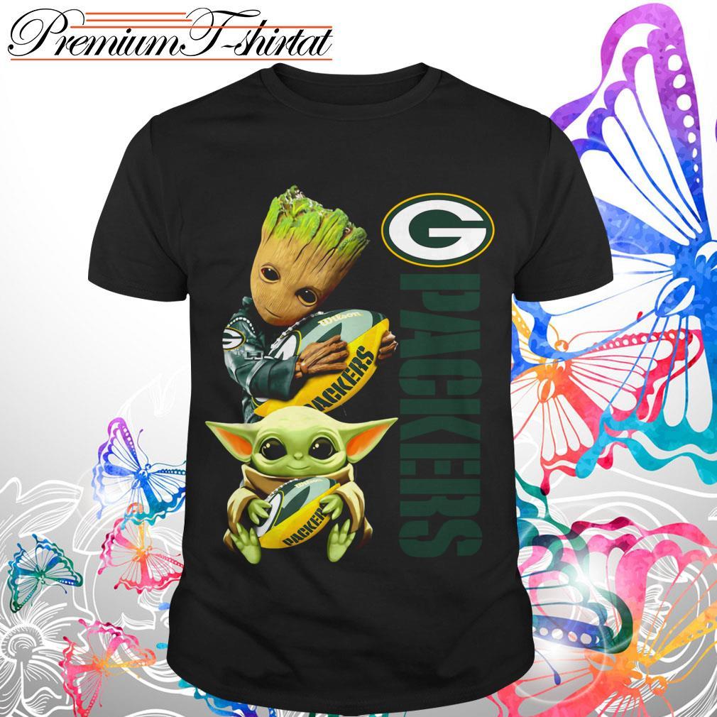 Baby Groot And Baby Yoda Hug Green Bay Packers Shirt And Hoodie