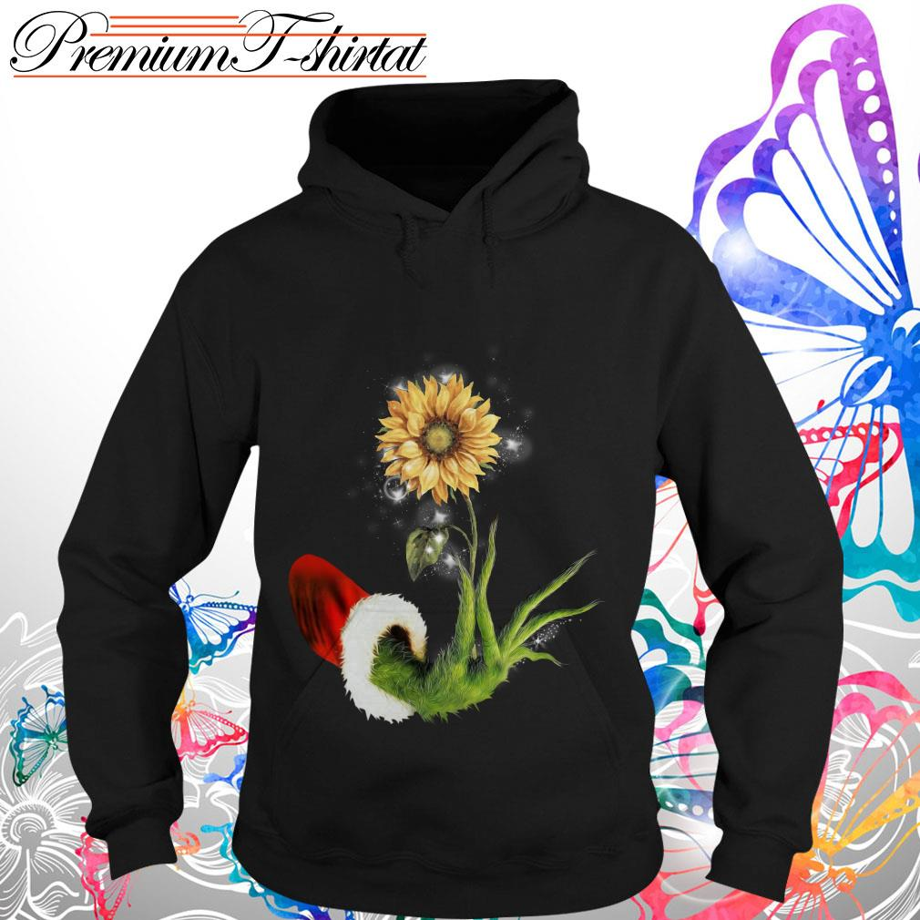 Grinch Santa Hand Holding Sunflower Shirt, Sweater
