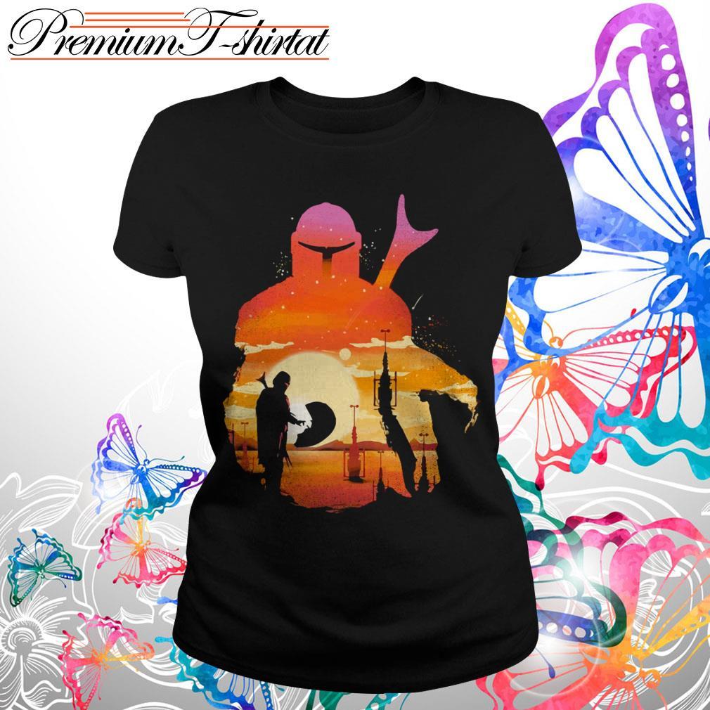 Mando Sunset Mandalorian Yoda Baby Shirt
