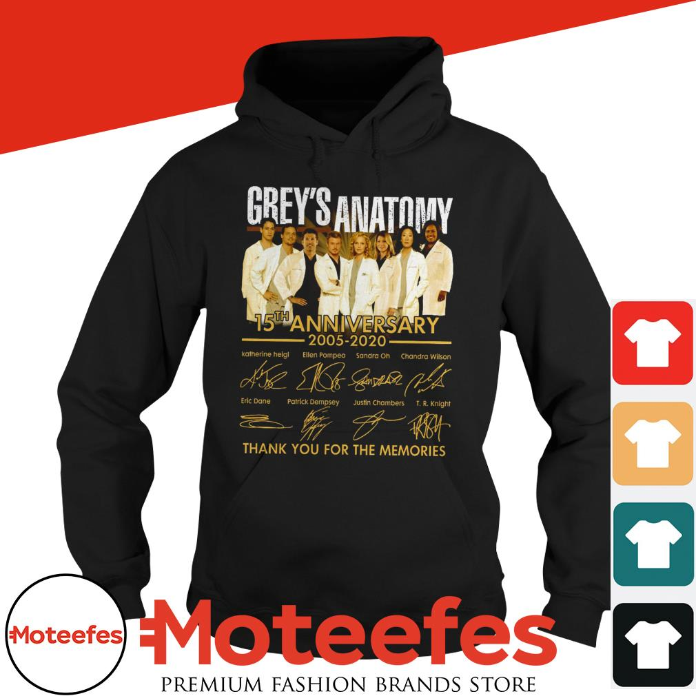 Greys Anatomy 15th Anniversary 2005 2020 Thank You For The Memories Signatures Hoodie