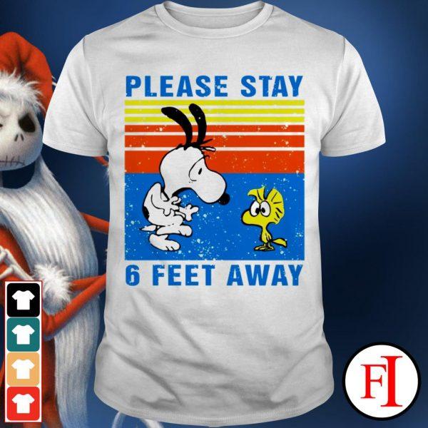 Vintage Snoopy Woodstock Please Stay 6 Feet Away Black Shirt